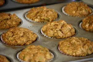 homemade, whole wheat grain, pumpkin muffins, hot, oven