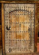 rustic, antique, wooden door, metal bolts, padlock, chain