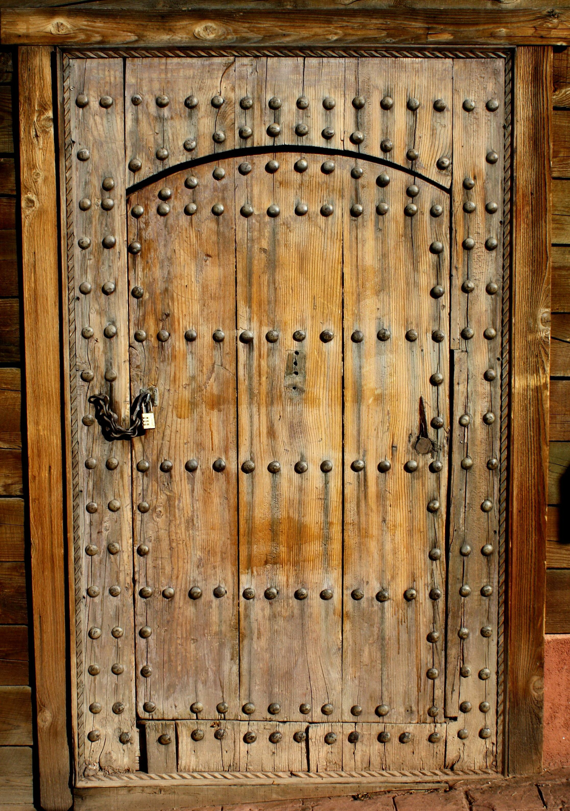 Rustic, Antique, Wooden Door, Metal Bolts, Padlock, Chain