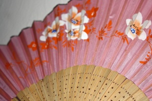 painted pink paper, Japanese, hand fan, close