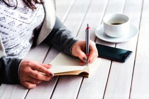 blocco note, penna, persona, donna, scrittura, ufficio
