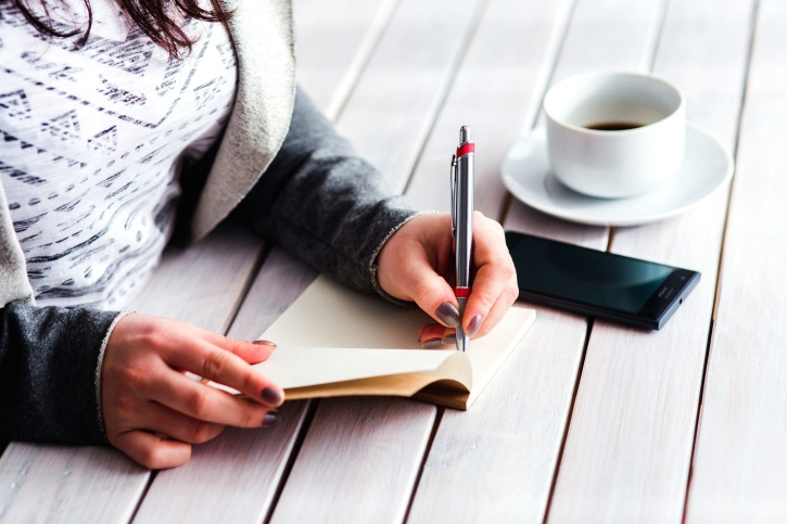 bloc de notas, bolígrafo, persona, mujer, escritura, oficina