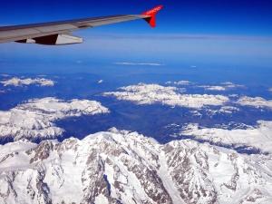 aircraft, wing, flight, mountains