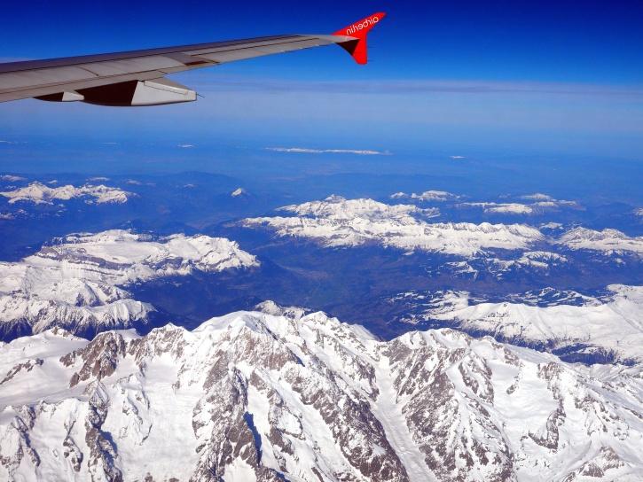 aerei, ala, volo, montagne