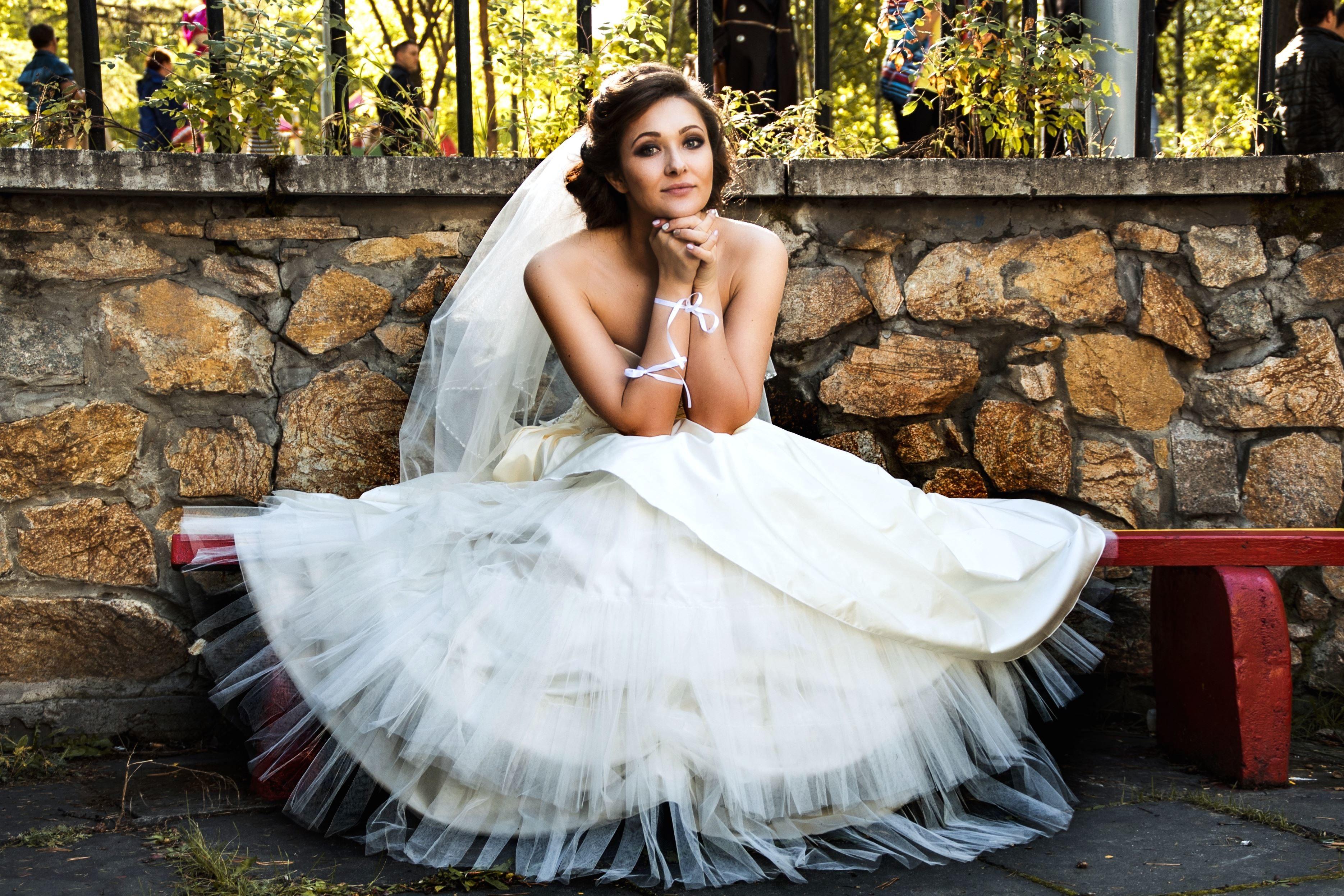 Kostenlose Bild: Hochzeitskleid, Braut, weißes Kleid, eine Frau ...