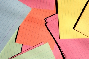 colorful paper, paper cards, scattered, office