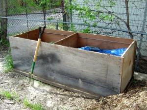 compost bin, pitchfork, backyard