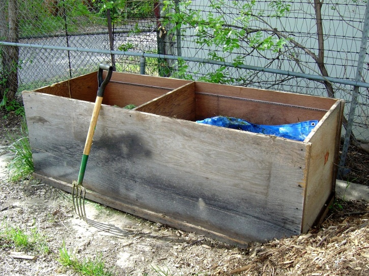 compost bin, pitchfork, backyard
