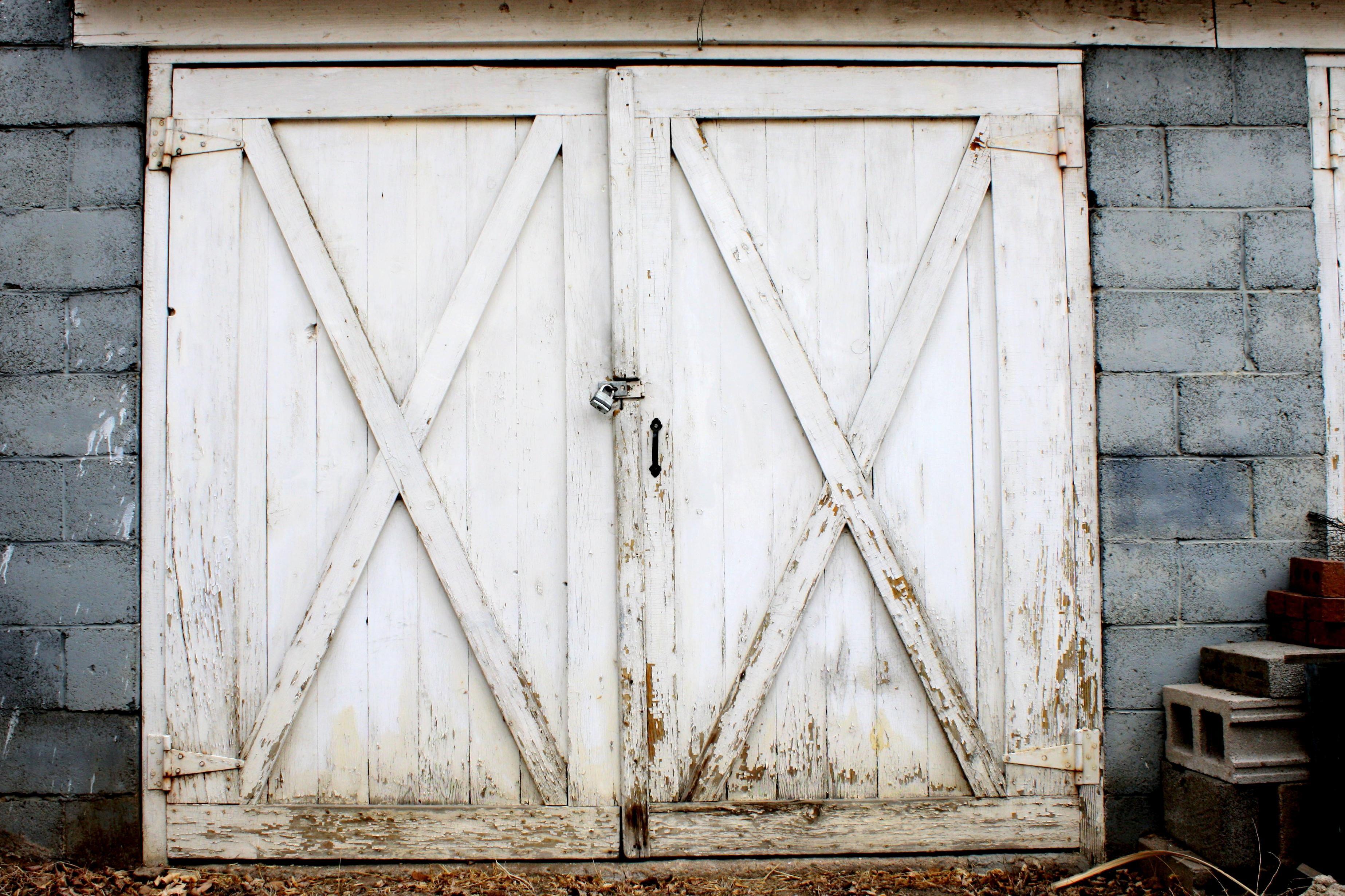 Old Garage Door, White Paint, Exterior, Barn Door