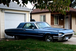 Oldtimer кола, гараж, синьо, ретро, кола, превозно средство, улица, къща