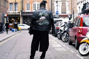 uomo, pantaloni, strada, moda, urbano, veicoli