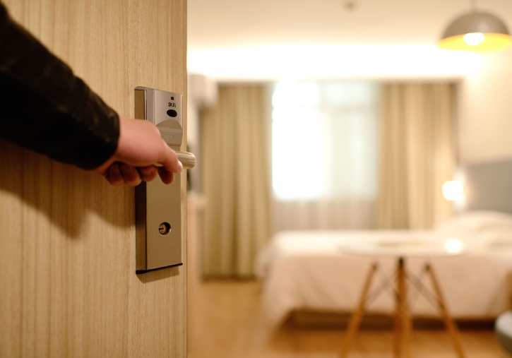 open door, door lock, bedroom, entrance, guest room, interior, furniture