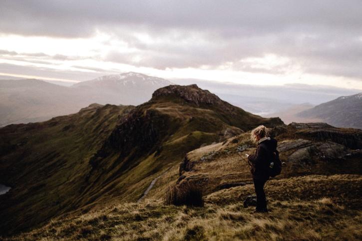 valley, woman, hill, woman, mountain climbing