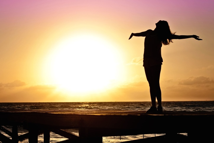 silhouette, alba, donna, spiaggia