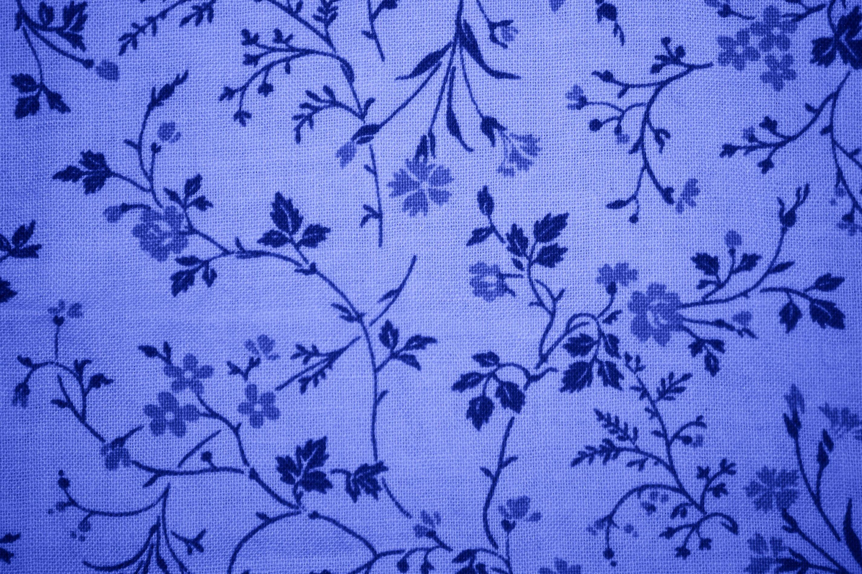 Free Picture Blue Floral Design Print Fabric Texture