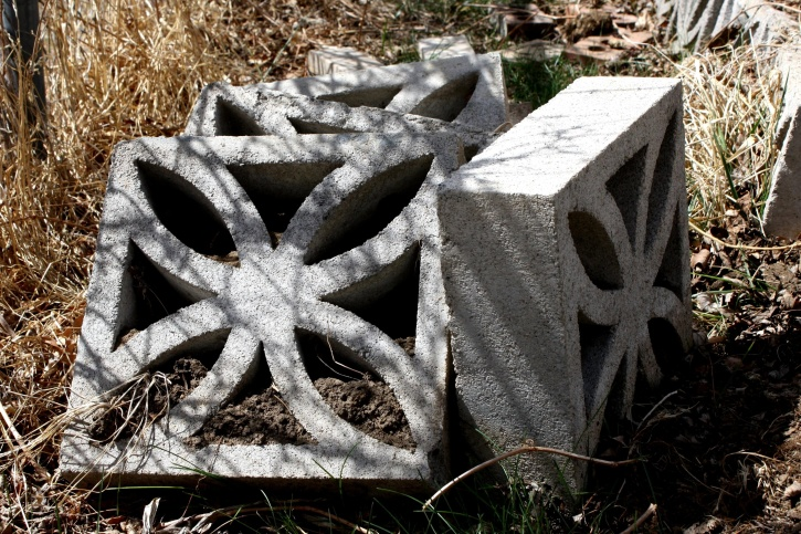 decorative, cinder blocks, piled, garden