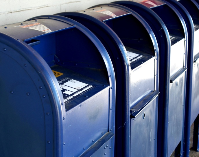 mailboxes, metal containers, blue paint
