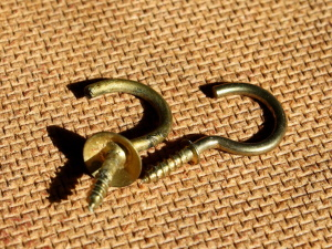 old, brass metal, wood screw, hooks