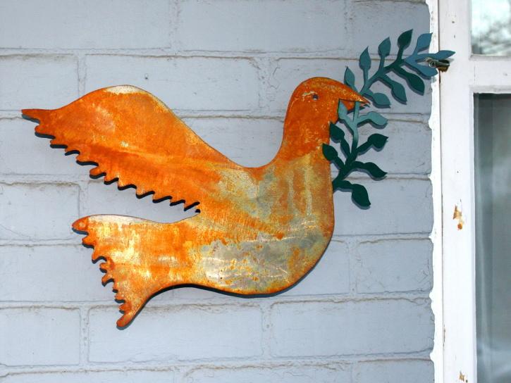 metal ornament, rust, exterior, wall, peace, dove bird, outdoor