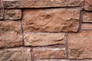 rojizo, piedra arenisca, muro de contención, textura