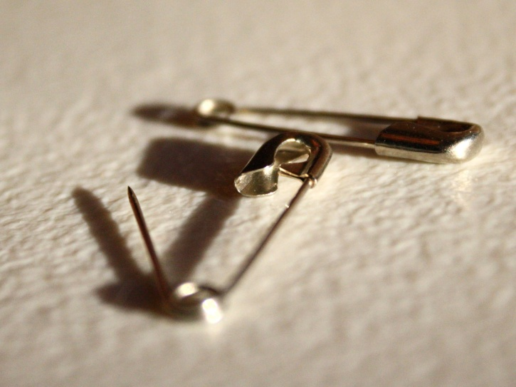 safety pins, sharp, metal, needles, stainless steel