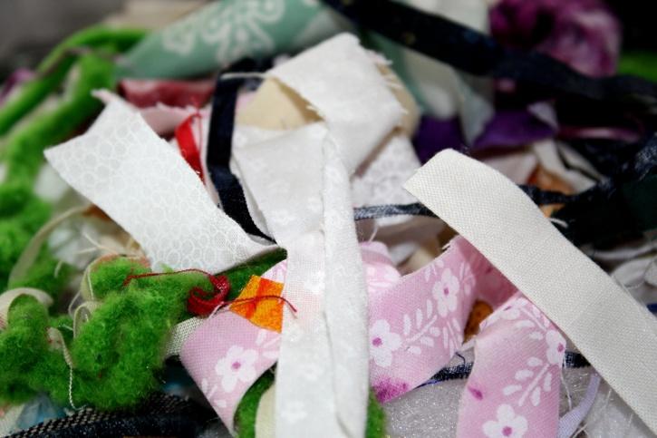 scraps, cloth, dishcloth, texture, colorful