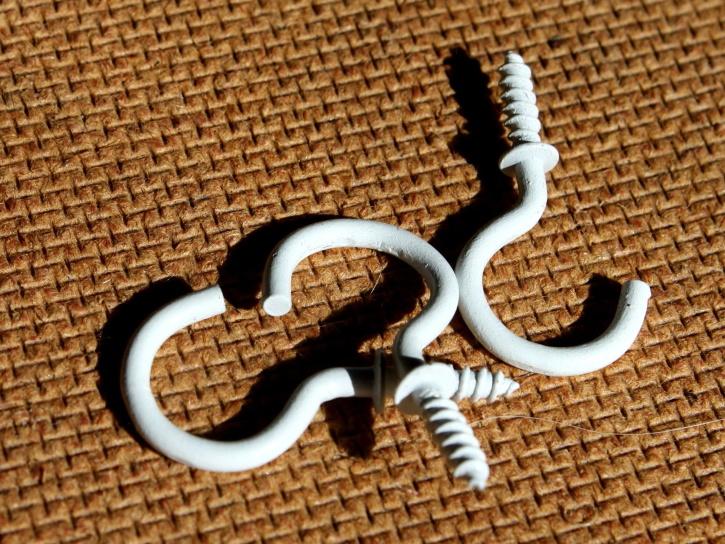 wood screw, hooks, white, metal, steel