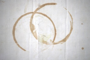 two circles, stained, circle, white, cardboard, paper, carton, texture