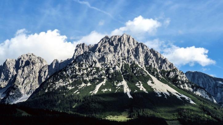 mountain peaks, mountainside, hills, sky, trees