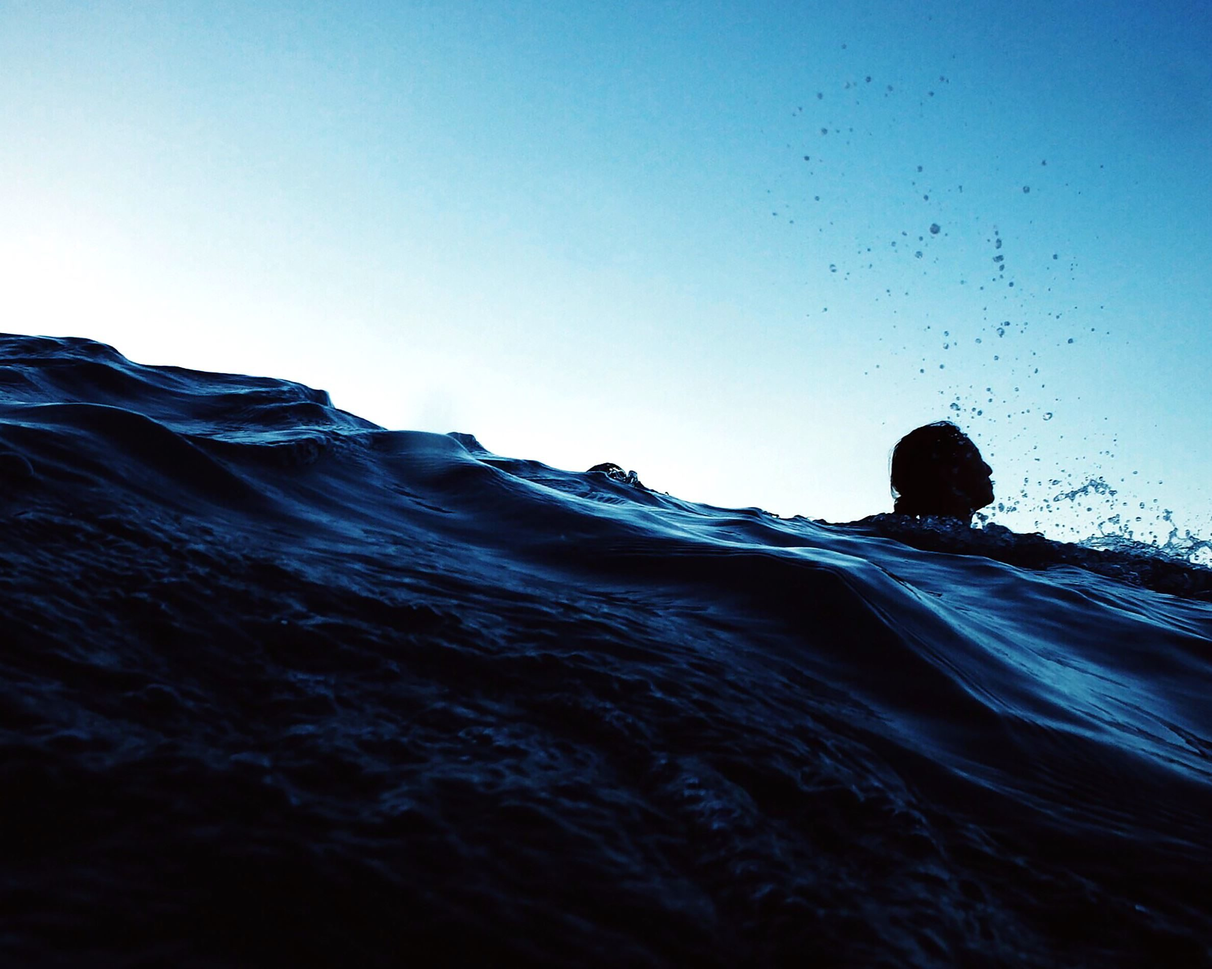 Free picture: sea, person, silhouette, swimming, waves, water, sky