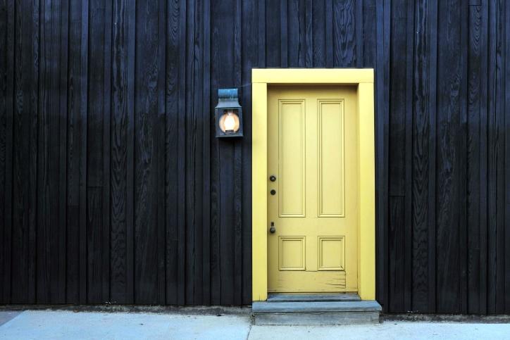 wooden house, front door, lamp, street, wall