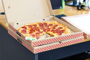 Italian food, fast food, pizza, lunch, baked, carton box, cheese, tomato, office