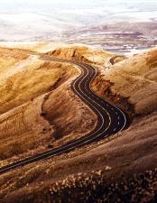 cropland, curve, road, soil, track