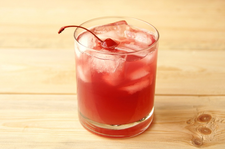 fresh juice, fruit juice, drink, cherry, ice cubes, glass, red