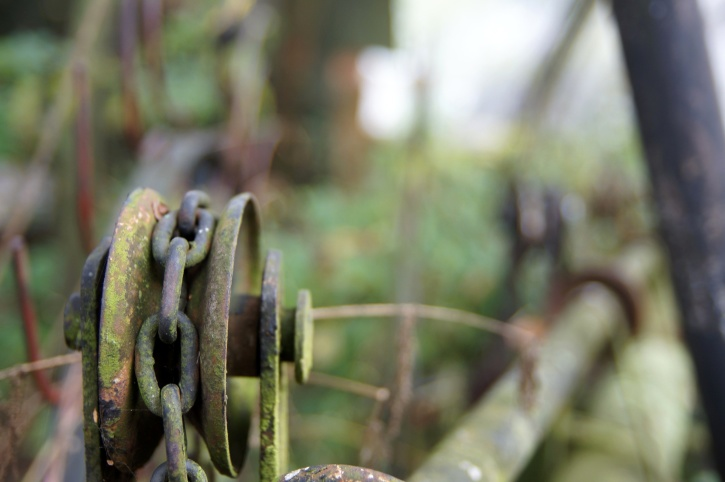 metal, chains, fragment, rust, old, agricultural machine