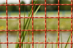 red wires, fence, metal fence, square pattern