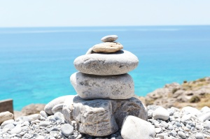 balance, rock formations, peace, stones, sea, blue sky