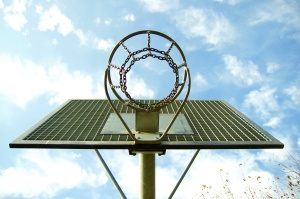 basketball court, sport, basketball, stainless steel, steel, blue sky