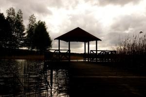 gazebo, jetée, lac, coucher de soleil, crépuscule, habitat naturel