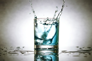 ice cubes, splashing water, glass, fresh water