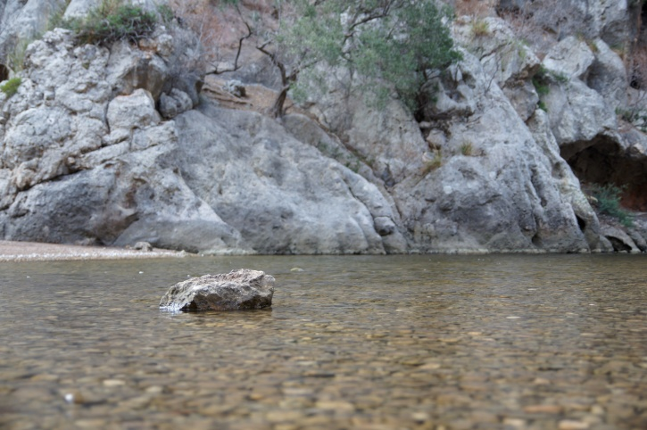 large stone, shallow river, nature, mountains