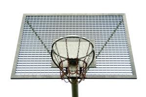 cadenas de metal, tablero, deporte, cancha de baloncesto