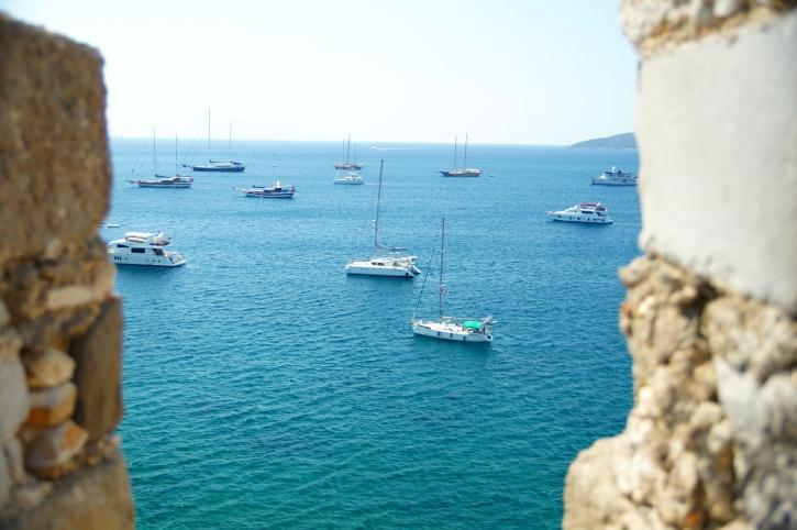 Kasteel, zee, kust, met uitzicht op