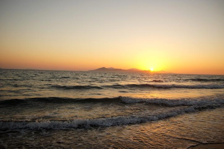 sunset, sea, horizon, sky, beach, summer