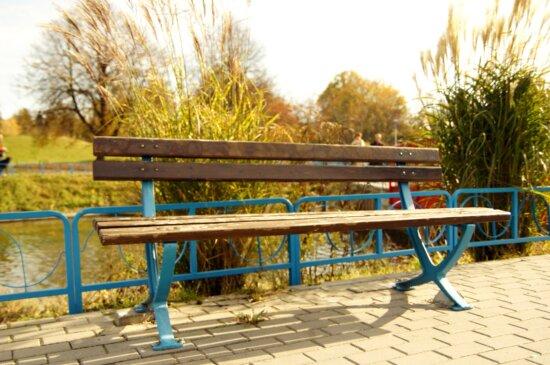 wooden bench, empty bench, park, sidewalk