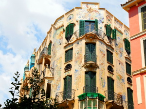 colorful, building, art, windows, shutters