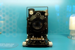 old camera, retro, antique, front view