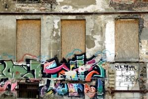 abandoned house, wall, street, graffiti