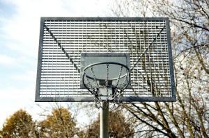 basketball court, metal construction, steel, backboard