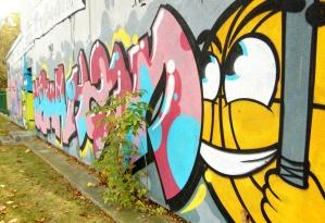 colorido pintada, calle, pared, urbano